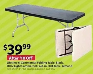 Lifetime 6' Commercial Folding Table