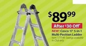 "Cosco 17"" 5-In-1 Multi Position Ladder"