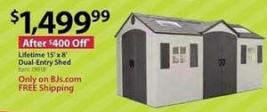 Lifetime 15'x8' Dual-Entry Shed