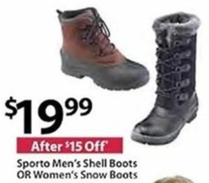 Sporto Men's Shell Boots or Women's Snow Boots