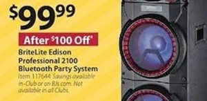 BriteLite Edison Professional 2100 Bluetooth Party System