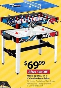 Medal Sports 3-in-1 4' Combo Game Table