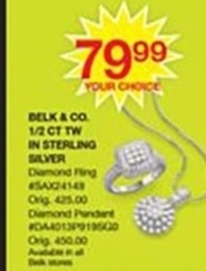 Belk & Co 1/2 CT TW Sterling Silver Diamond Ring