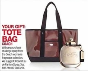 Tote w/ Coach Fragrance Purchase