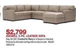 Avenell 3-Pc. Leather Sofa