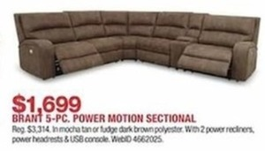 Brant 5 Pc. Power Motion Sectional