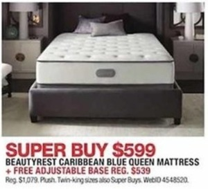 Beautyrest Caribbean Blue Queen Mattress with Free Adjustable Base