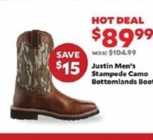 Justin Men's Stampede Camo Bottomlands Boots