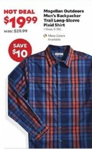Magellan Outdoors Men's Backpacker Trail Long-Sleeve Plaid Shirt