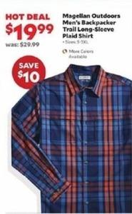 Magellan Outdoors Men's Backpacker Trail Long-Sleeve Plaid Shirt