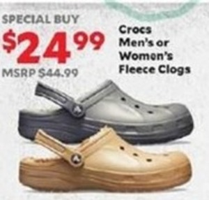 Crocs Men's or Women's Fleece Clogs