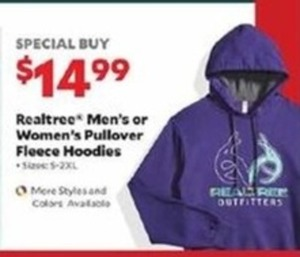 Realtree Men's or Women's Pullover Fleece Hoodies