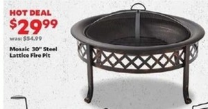 "Mosaic 30"" Steel Lattice Fire Pit"