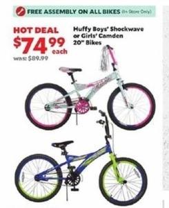 "Huffy Boys Shockwave Or Girls' Camden 20"" Bikes"