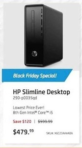 HP Slimline Desktop PC w/ 8th Gen Intel Core i5 CPU