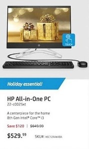 HP All-in-One PC w/ 8th Gen Intel Core i3 CPU