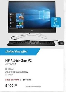 "HP All-in-One PC 24-f0045z, 23.8"" FHD Touch Display AMD A9"