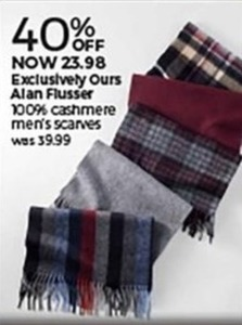 Alan Flusser 100% Cashmere Men's Scarves