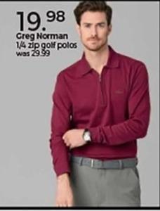 Greg Norman 1/4 Zip Gold Polos