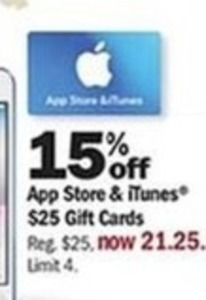 $25 App Store & iTunes Gift Cards