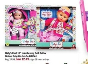 "Baby's First 19"" Unbelievably Soft Doll or Deluxe Baby On-the-Go Gift Set"