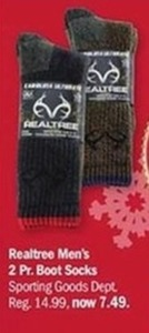 Realtree Men's 2 Pr. Boot Socks