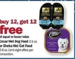 Cesar Wet Dog or Sheba Wet Cat Food