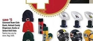 Licensed Team Coin Bank, Helmet Candy Dispenser, Socks, Knit Hats