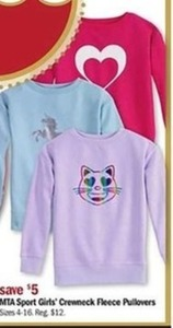 MTA Sport Girls' Crewneck Fleece Pullovers