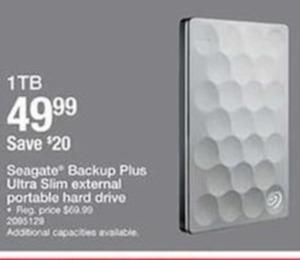Seagate Backup Plus Ultra Slim External Portable Hard Drive 1TB