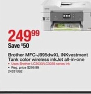 Brother MFC-J995dwXl INKvestment Tank Color Wireless Ink Jet All-In-One