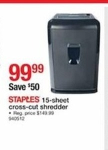 Staples 15-Sheet Cross Cut Shredder