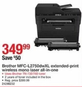 Brother MFC-L2750DWXL Extended Print Wireless Mono Laser All-In-One Printer