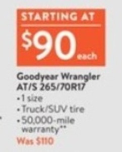 Goodyear Wrangler AT/S 265/70R17 Tires