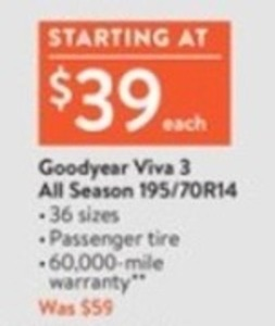 Goodyear Viva 3 All Season 195/70R14 Tires