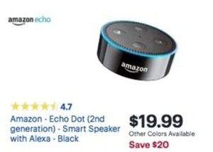 Amazon Echo Dot- 2nd Generation- Smart Speaker w/ Alexa- Black