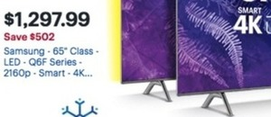 "Samsung 65"" LED Q6F Series 4K HDTV"