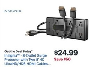 Insignia 8-Outlet Surge Protector w/ Two 8' 4K HDMI Cables