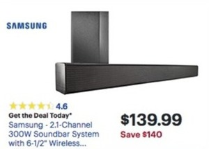 Samsung 2.1 Channel 300W Soundbar System w/ Wireless Subwoofer