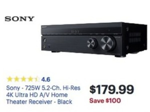 Sony 725W 5.2-Ch. Hi-Res 4K Home Theater Receiver