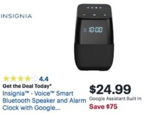 Insignia Voice Smart Bluetooth Speaker and Alarm Clock
