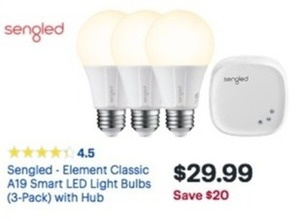 Sengled Element Classic A19 Smart LED LIght Bulbs 3-Pack w/ Hub