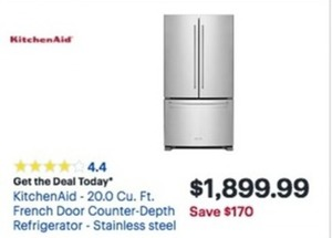 Kitchen Aid 20.0 Cu. Ft. French Door Countr Depth Refrigerator