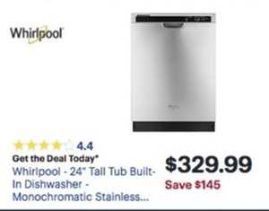 "Whirlpool 24"" Tall Tub Built In Dishwasher"