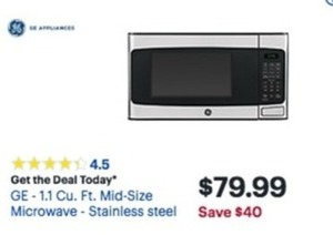 GE 1.1 Cu. Ft. Mid Size Microwave