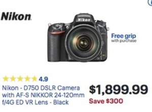 Nikon D750 DSLR Camera w/ AF-S Nikkor 24-120mm f/4G ED VR Lens