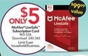 McAfee LiveSafe Subscription Card