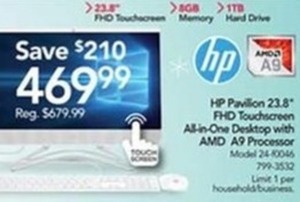 HP Pavilion 23.8'' Touchscreen All-In-One Desktop