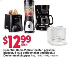 Essential Home 2-Slice Toaster, Personal Blender, 5-Cup Coffeemaker, and Black & Decker Mini Chopper