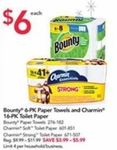 Bounty 6-Pack Paper Towels & Charmin 16-Pack Toilet Paper